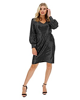 Silver Glitter Wrap Dress