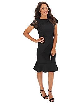 Black Lace Peplum Hem Bodycon Scuba Dress