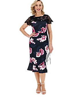 Floral Peplum Hem Bodycon Scuba Dress