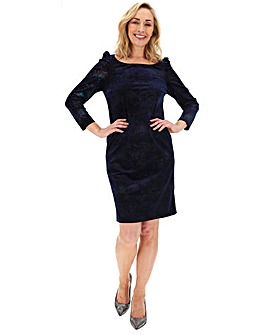 Navy Metallic Velour Shift Dress