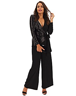 Black Sequin Wrap Jumpsuit