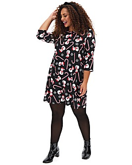 Snowman/Candycane Novelty Swing Dress