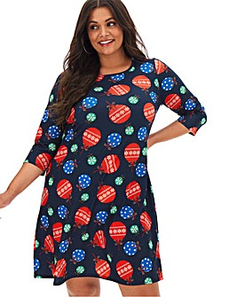 Christmas Baubles Novelty Swing Dress