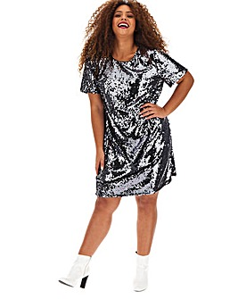 Gunmetal Sequin Shift Dress