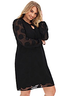 Black Dobby Spot Shift Dress