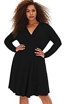 Black Long Sleeve Jersey Wrap Supersoft Skater Dress