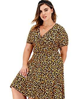 Animal Print Jersey Wrap Skater Dress