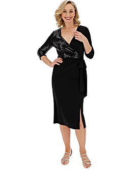 Black Sequin Wrap Midi Dress