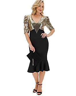 Gold Sequin V Neck Fluted Hem Bodycon Dress