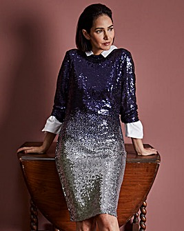 Navy & Silver Ombre Sequin Shift Dress