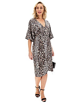 Leopard Print Sequinned Wrap Dress