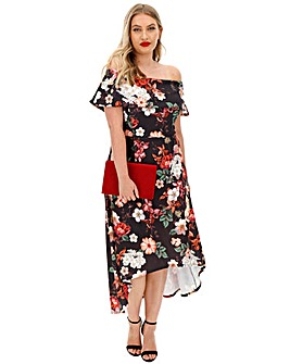 Black Floral Bardot Skater Dress