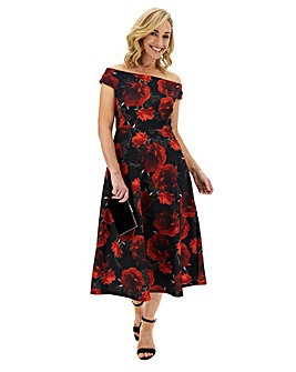 Red Floral Scuba Bardot Skater Dress