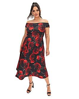 Red Floral Scuba Bardot Skater Dress