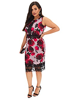 Pink Floral Scuba Panel Bodycon Dress