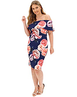 Navy Floral Scuba Bardot Dress