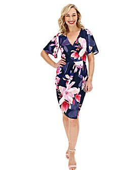 Navy Floral Wrap Front Scuba Dress