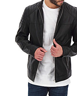 Leather Biker Style Jacket Long