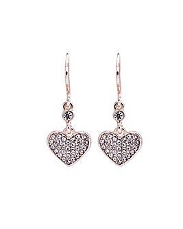 Lipsy Rose Gold Heart Charm Earrings