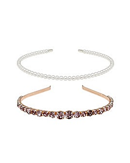 Rose Gold Crystal And Pearl Headbands