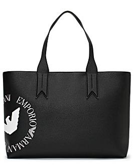 Emporio Armani Eagle Logo Top Zip Shopper Bag