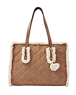 Accessorize Faux Shearling Quilted Tote
