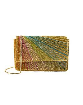Accessorize Rainbow Beaded Clutch Bag