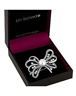 Jon Richard Pearl And Crystal Bow Brooch