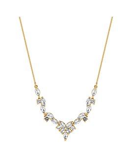 Alan Hannah Gold Floral V Shape Necklace