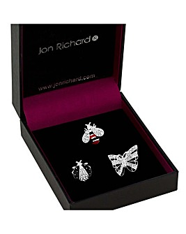Jon Richard Jet And Crystal Bug Brooch