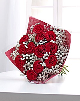 Valentine 12 Red Roses Bouquet