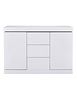 Halo High Gloss 2 Door 3 Drawer Sideboard with LED Lights
