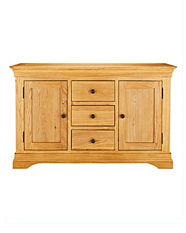 Malvern Oak and Oak Veneer 2 Door 3 Drawer Sideboard