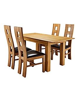 Malvern Oak Table and 4 Rutland Chairs