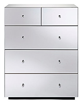 Mirage Ready Assembled Mirrored 3+2 Drawer Chest
