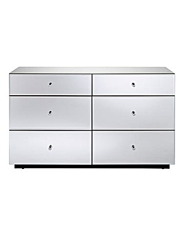 Mirage Ready Assembled Mirrored 6 Drawer Chest