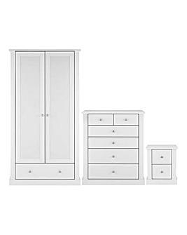 Tiverton 3 Piece Bedroom Package (Bedside, 4+2 Chest, 2 Door Wardrobe)