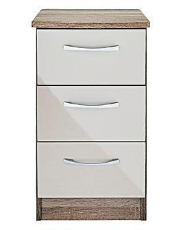 Sloane Gloss Assembled 3 Drawer Bedside