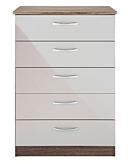 Sloane Gloss Assembled 5 Drawer Chest