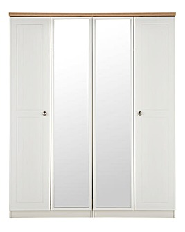 Clovelley 4 Door Mirrored Wardrobe