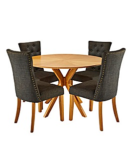 Sunburst Table with 4 Shaftsbury Chairs