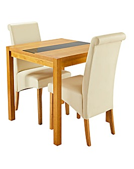 Oakham Glass 2 Siena Faux Leather Chairs