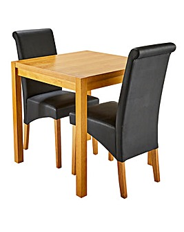 Oakham Table 2 Siena Faux Leather Chairs