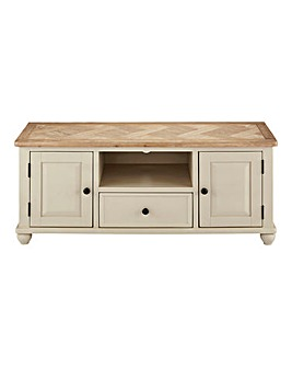Charingworth Parquetry Oak and Oak Veneer Wide TV Unit