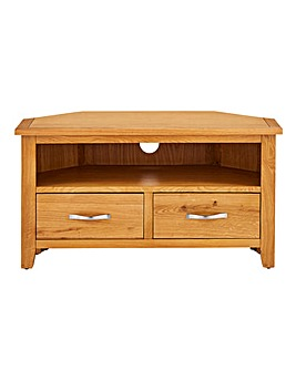 Norfolk Oak and Oak Veneer Corner TV Unit