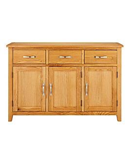 Norfolk Oak and Oak Veneer 3 Door 3 Drawer Sideboard