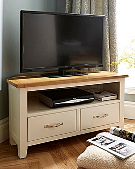 Norfolk Two Tone Oak and Oak Veneer Corner TV Unit