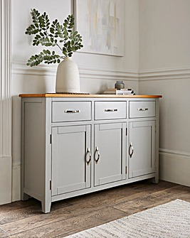 Norfolk Two Tone Oak and Oak Veneer 3 Door 3 Drawer Sideboard