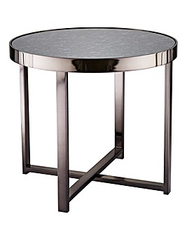 Ayla Antique Nickel Mirrored Side Table