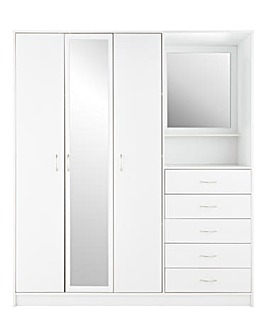 Darwen 3 Door 5 Drawer Mirrored Combi Wardrobe